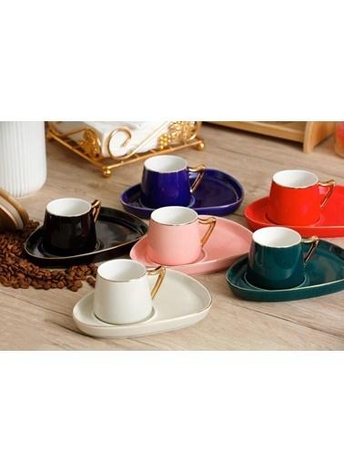 Arow 6 Renk Üçgen Tabaklı 6 Kişilik Türk Kahvesi Fincanı Renkli